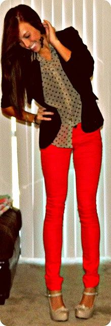 red pants polka dots.