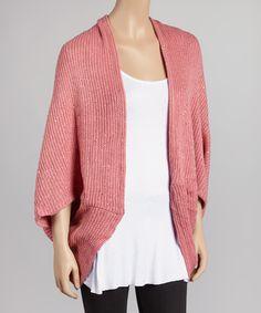 Pink Sparkle Knit Ribbed Dolman Open Cardigan