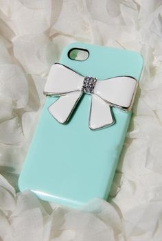 iPhone 4 case cover Tiffany bowtie Swarovski crystals Rhinestone Handmade jewel iPhone case Studded Bling decorate iPhone 4s case. $10.99, via Etsy.