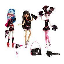 Monster High Ghoul Spirit Action Figure Doll 3Pack Draculaura, Cleo de Nile Ghoulia Yelps by Mattel