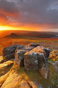 ~~Sharpitor Dawn | rich deep colors of sunrise illuminate the morning sky, Dartmoor National Park, UK by @Gking_photo~~