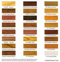Wood stain colors.