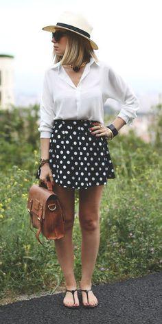 polka'ed skirt + white blouse + panama hat.