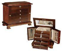 Locking Walnut Wooden Jewelry Box with Tassel Key