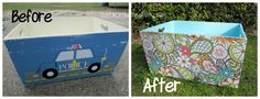 Toy Box Makeover using Spray Paint, Mod Podge, & Wrapping Paper