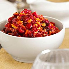 Tangerine Cranberry Relish:  Tangy cranberries are always a welcome counterpoint to the rich flavors of a Thanksgiving meal. This simple, three-ingredient recipe will ease your dinner preparations, and it can be made up to two days ahead.