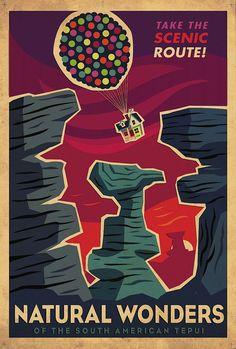 Up Poster vintage posters, art, retro posters, natural wonders, pixar movies, paradise falls, disney, travel posters, design
