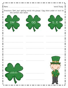 Your students will love sorting these long o words at your word work station! This St. Patty's Day themed activity focuses on oa, ow, o_e_ and oddb...