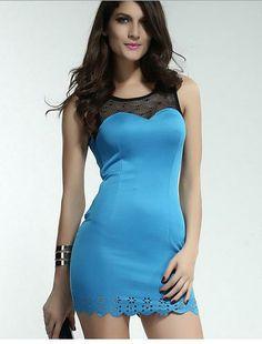 Blue Mesh Laser Cutout Trim Dress #bodycon #partydress #minidress