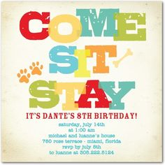 Adorable invitation for a special Pet Birthday party!