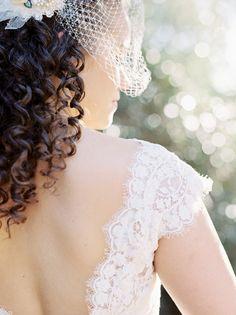 birdcage veil + lace, photo by Melissa Brandman http://ruffledblog.com/highland-springs-resort-wedding #bridal #weddingdress