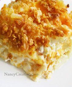 cheesy hashbrowns: 2 lbs thawed hash browns, 1/2 c melted butter, 1/4 t pepper, 1 t salt, 1/2 c chopped onion, 1 can cream of chicken soup, 2 c sour cream, 2 c shredded cheddar, (mix all above  put in greased 9x13 pan), then combine 1/4 c melted butter with 2 c crushed corn flakes and spread on top of potato mixture, bake at 350 for 50-60 min