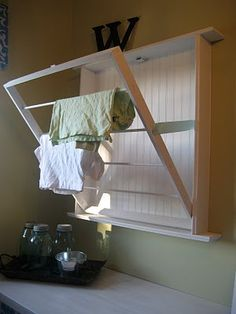 Folding wall drying rack for laundry or bath