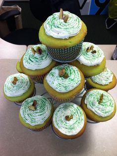 Pistachio Cupcakes for St. Patty's Day!    Make a simple yellow cake recipe-  3/4  cup unsalted butter, softened   1 1/2 cups sugar   2 teaspoons baking powder   2 teaspoons vanilla extract   4 large eggs   2 1/4 cups all-purpose flour   1cup milk     Add a packet of Pistachio pudding mix to batter  Bake at 350. 18 minutes for cupcakes    Creamy vanilla frosting-  2 sticks softened (not melted) butter  3-4 cups powdered sugar  tablespoon vanilla extract  1/4 teaspoon salt  3-4 tablespoons milk