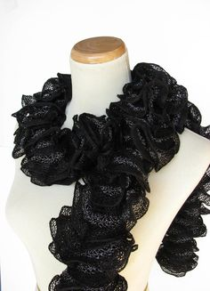 Black Hand Knit Ruffled Scarf by ArlenesBoutique on Etsy, $40.00