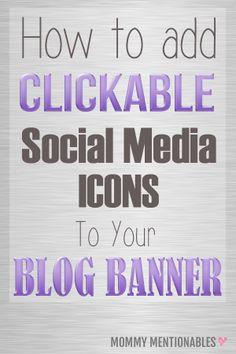 How to Add Clickable Social Media Icons to your Website Banner Using an Image Map Tool. #socialmediaicons #bloggingtips #blogdesign