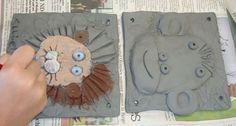 lion, tile art, clay tiles art project, art idea, art lesson, clay project, monkey, clay art, art projects
