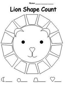 . school, kindergarten math, count, jungle theme kindergarten, learning shapes, learn shape, lion birthday, kid, jungle worksheets