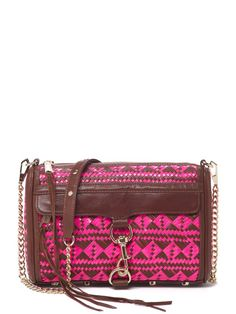 Woven Bright M.A.C. Clutch - Neon Pink/Chocolate