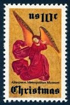 "1974_10_23 $.10  This traditional Christmas stamp features an angel - the ""Perussis Altarpiece"" (painting by an anonymous French artist, 1480) located in the Metropolitan Museum of Art in New York City."