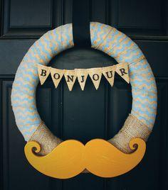Chevron Burlap & Mustache Bonjour Wreath by MandMhandmade on Etsy, $52.00  mandmhandmade.etsy.com