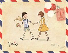 wall art, postcards, paris, studios, envelopes, illustrations, nursery rooms, art prints, letters