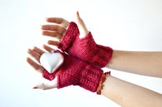 Fingerless gloves red red knit mittens for women by Notforeat, €20.00
