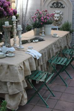 burlap ruffle table cloth - only I used a $20 drop cloth from Home Depot.  Made it for my 5' boutique display table.  LOVE IT!! outside parties, country cottages, ruffl, tablecloth, table covers, french country, outdoor parties, head tables, garden