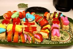 """Sushi"" made of Rice Crispy treats, Peeps, Sweedish Fish and Fruit-by-the-foot. Great for kids!"