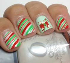 Candy Canes holiday challeng, christmas nails, winter holidays, candi cane, candy canes, cane nail, christma nail