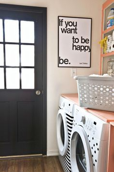diy ideas, happi, painting washer and dryer, laundry rooms, decorating contact paper, tape, laundri, contact paper washer, laundry wall quotes