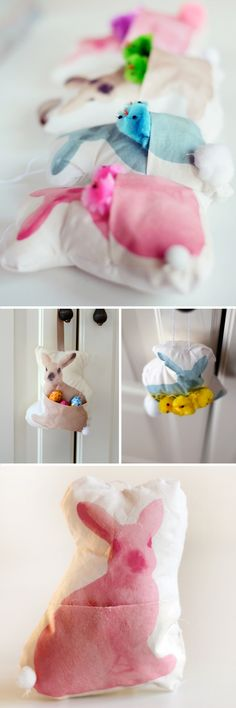 DIY: Mini Bunny Pillows - with a pocket for a gift or treat! Easy tutorial.