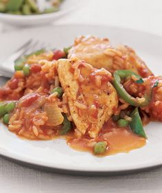 Spanish Chicken and Rice | Get the recipe: http://www.realsimple.com/food-recipes/browse-all-recipes/spanish-chicken-rice-10000001664959/index.html
