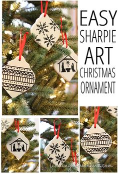 Easy Christmas Ornament - A tutorial for creating a Sharpie art Christmas ornament that literally takes one minute and no art skills are needed. christmas ornaments, christma ornament, easi christma, art christma