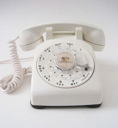 Vintage White Rotary Telephone