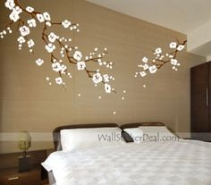 japanese cherry blossom wall art decals   Beautiful Cherry Blossom Branches Wall Stickers by amandabetty