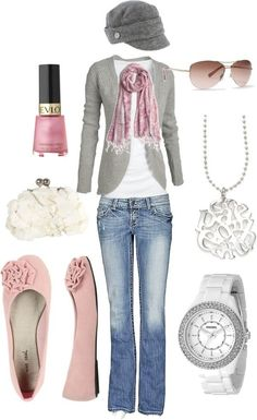 Jeans, white, gray, pink.