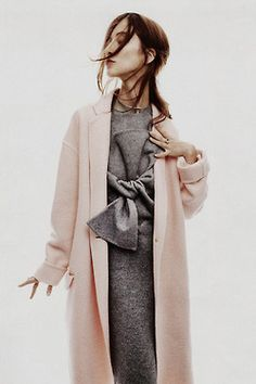 palepink, color combos, sweater dresses, pale pink, blush pink, blushes, coat, grey dresses, style fashion