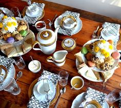 A lovely and unique tea setting.. And: Your Table Will Thank You:  5 Ways to Care For a Wooden Dining Table