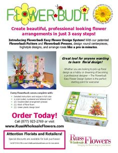 http://www.russwholesaleflowers.com/flowerbudi-deluxe  3 easy steps to create beautiful professional looking flower arrangements!!  Make arrangements like a florist.