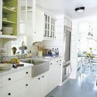 paint inside kitchen cabinets but leave shelves white...