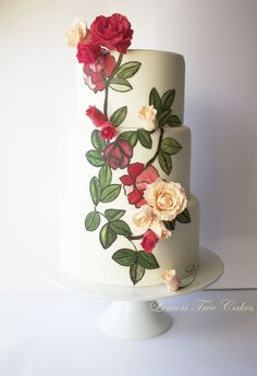 Pretty Hand Painted Roses Colorful Cake