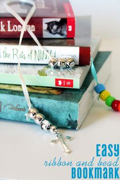 kid craft: easy DIY ribbon and bead bookmark for back to school