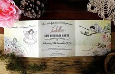 Echanted fairies by Catherine Jane Joy - Exclusive Hand illustrated invitation for Bella Cupcakes of New Zealand