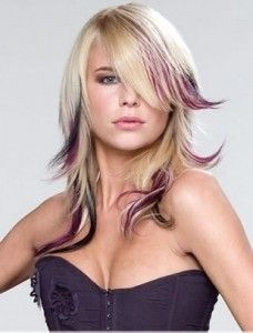 purple peekaboo highlights on blonde hair