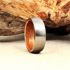 Titanium and Jack Daniel's Whiskey Barrel Ring
