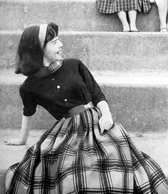 1950s Style peg for Roberta  Girl in Blouse and Plaid Skirt, 1958.