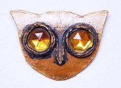 Enid Collins 1966-68 Papier Mache Owl Brooch