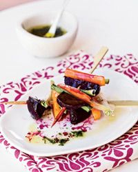 Roasted Beet, Carrot and Scallion Skewers with Tarragon Recipe from Food & Wine