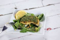 gluten-free chickpea cakes with spicy herb sauce